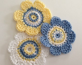 Flower Crochet Appliques -- Set of Three in Blue, Yellow and White