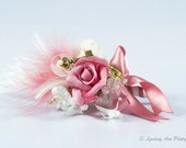 Dusky Pink Steampunk Themed Rose Corsage **Made to Order**