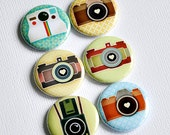 Cameras (02) - set of six badges/ flair buttons