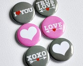 True Love - set of six badges/ flair buttons