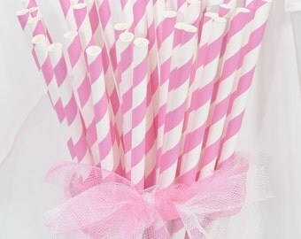 75 Bubble Gum Pink Striped Paper Straws with Custom Flags  Baby Shower - It's a Girl - Spa - Bridal Shower - Cake pop Sticks - Everyday Use