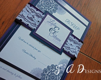 Navy Blue and Purple Lace Wedding Invitation