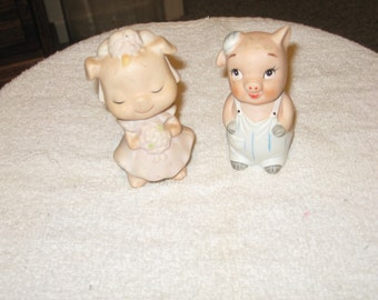 Collectible Ceramic Baby Brother & Sister Pigs