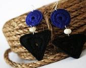 Black and Blue Handmade Geometric Thread Wrap/Coil Earrings