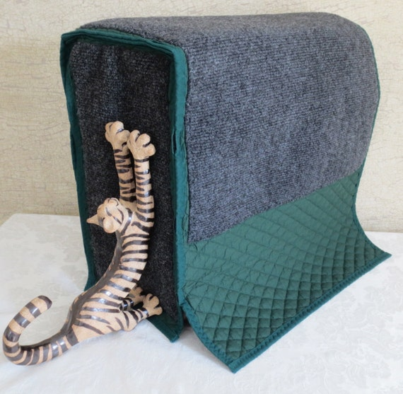 Cotton quilted fabric forest green with gray carpet tuck and for Sofa arm covers cat