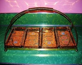 FIRE KING Divided Atomic era Serving TRAY metallic gold glass with turquoise starbursts 1950s