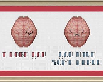 I lobe you: nerdy brain cross-stitch pattern