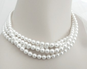 Multi Strand Pearl Necklace, Pearl Choker Necklace, Soft White Bridal Pearl Jewelry in Swarovski Pearls