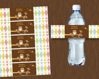 Instant DOWNLOAD Water Bottle Labels Printable Personalizable OWL Baby Shower Birthday Party Whoo Loves You
