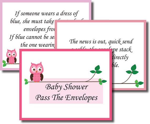 instant download pass the envelopes baby shower game pink girl purple