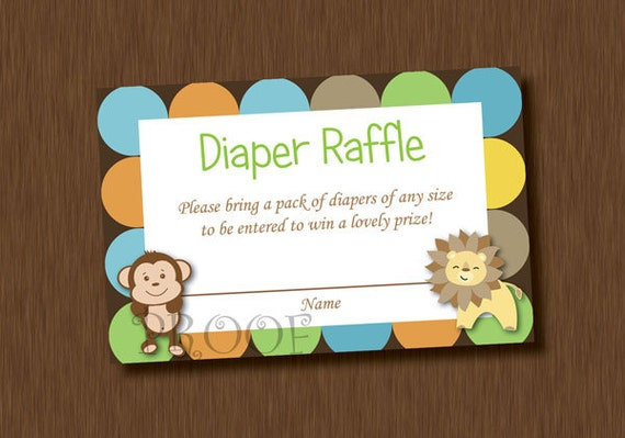 INSTANT DOWNLOAD Diaper Raffle Tickets Printable King of Jungle Baby ...