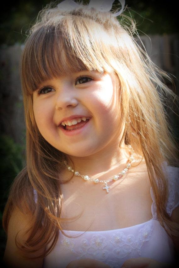 Flower Girl Necklace-Cross Necklace-Flower Girl Jewelry-First Communion Jewelry-Christian Wedding-Catholic Wedding-Flower Girl Gift