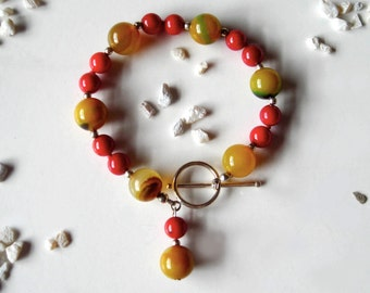 Cherries Jubilee Bracelet - Colorful Red Onyx Bracelet, with Silver and Glass