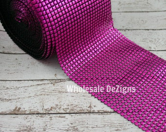 "Clearance Hot Pink Studded Mesh - Bling Mesh 4.75"" - 28"""