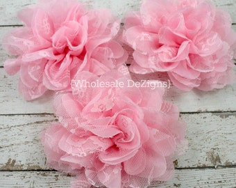 "Pink Chiffon and Lace Flower - 4"" Full and Fluffy - 4 inches Large"