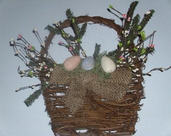 Primitive grapevine wall basket AFTER EASTER SALE