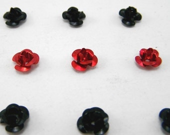 50 Small Rose Cabochons - Aluminum 6 mm x 4 mm