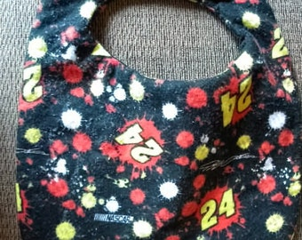 Hand Crafted Black Flannel Jeff Gordon Nascar Number 24 Baby Bib