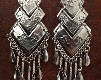 Alpaca Silver Earrings Unique Elegant Dangle Ethnic Peru Peruvian Style