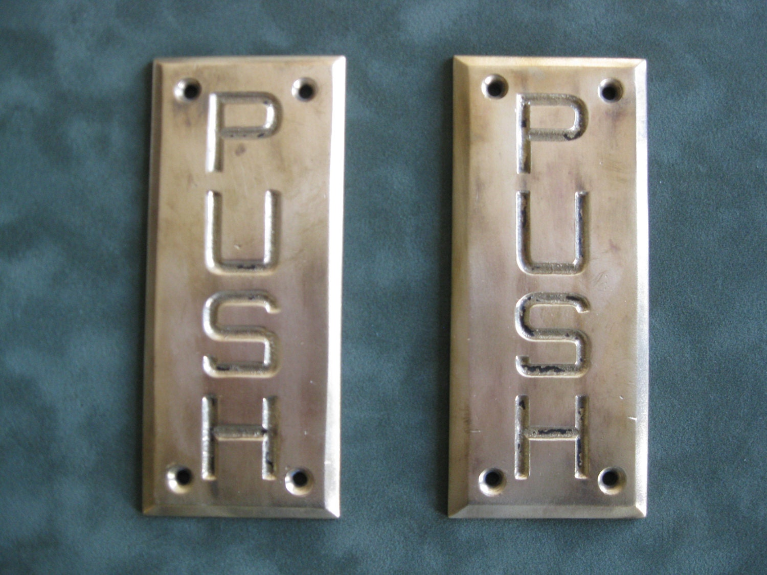 Vintage brass push door plates by timelessobjects on etsy for Door push plates