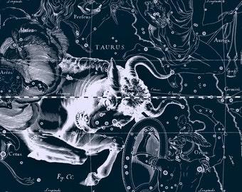 Moon poster, Astronomy, Zodiac constellation, Constellation of Taurus, 133