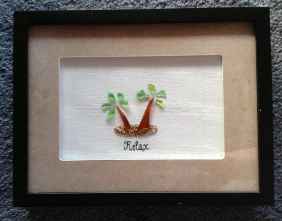 Items Similar To Palm Tree Hawaiian Sea Glass Shadow Box