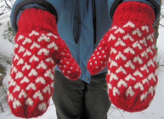 Wool Heart Mittens Double Knit Red And White Heart By