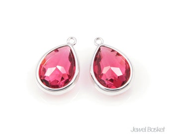 Ruby Color Glass and Silver Framed Teardrop Pendent / 10.5mm x 16mm / SRES028-P (2pcs)