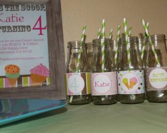DIY Printable Ice Cream Social Water Bottle Labels