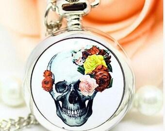1pcs small skull flower pocket watch charms pendant    25mmx25mm