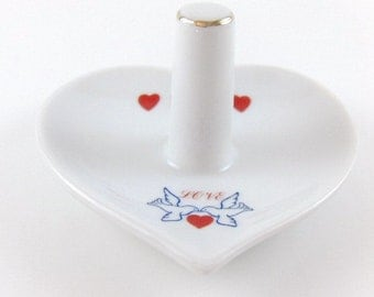 Vintage Ring Holder Porcelain Collectible Ring Holder Heart Shaped with Hearts Doves and the word Love Wedding Ring Holder Home Decor