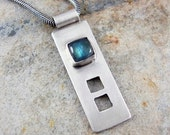 Labradorite and Sterling Silver pendant necklace - blue, rustic, square, minimalist, artisan, one of a kind