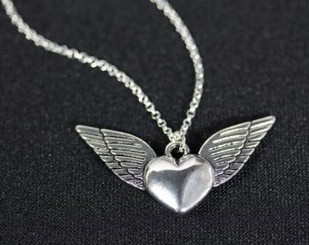 Angel Wings and Heart, Cute necklace, cupid love Necklace Flying