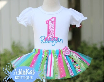 Personalized Pink and Turquoise Fabric Tutu Birthday Outfit