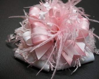 Hair Bow Big Crazy Over the Top Pink White Party Girl Large Boutique Toddler Birthday Photo Prop