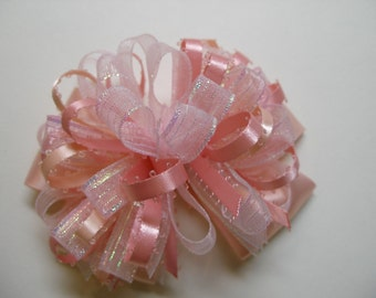 Unique Pastel Coral Ice Pink DIVA Irridescent Glitz Glam Princess Over the Top Boutique Hair Bow Toddler Pageant Wedding