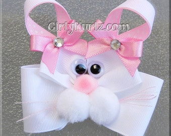 Pink Bunny Hair Bow, Easter Hair Bow, Bunny Hair Clip, Rabbit Hair Bow, Bunny Bow, Easter Hair Clip, Hair Bow