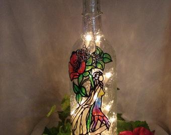 Wild Rose Fairy Wine Bottle Lamp