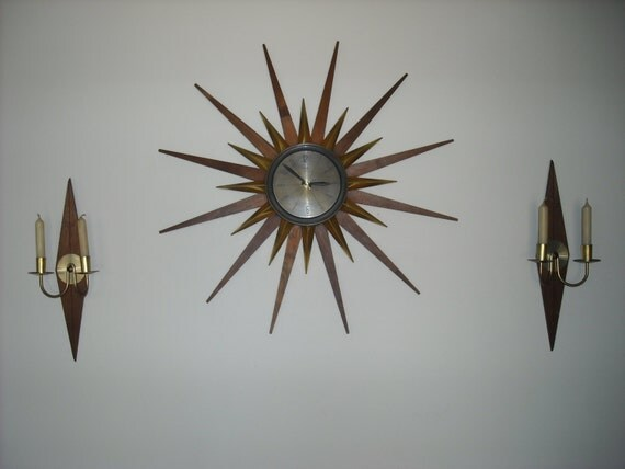 Vintage Welby Sunburst Wall Clock W Matching Candle Sconce