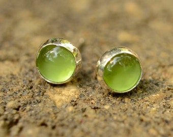 Peridot Earrings, Sterling Silver Post Earrings with Peridot Gems, August Birthstone, Peridot Stud Earrings in Silver, Abish Jewelry Works