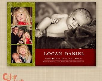 Christmas Birth Announcement Photo Card - Holiday Birth Announcement - Custom Christmas Birth Announcement