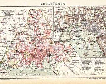 1903 City Map of Kristiania, present Oslo, Capital of Norway at the end of the 19th Century Original Antique Map