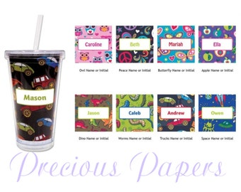 Personalized Plastic Tumblers - owl tumblers - owl plastic cups with straw , peace sign tumblers, butterfly tumblers, apple tumblers