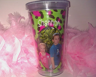 Personalized Photo Plastic tumblers with lid and straw  Plastic tumblers with photo SEVERAL COLORS