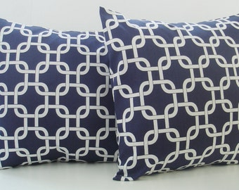 """Throw pillow covers set of two 20"""" x 20"""" Navy Gotcha  Blue 20 x 20 Navy Nautical Theme Pillow Covers Home and Living Home Decor"""