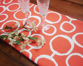 """Orange Table Runner - Wedding - 13"""" X 72"""" Table Cloth .  Decorative  Table Runner .   New freehand Design by Premioer Prints Baby Shower"""