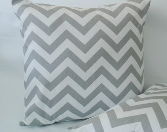 GREY THROW PILLOWS  One 18 x18  Decorative Throw Pillow Covers 18 x 18 zig zag Accent Pillow