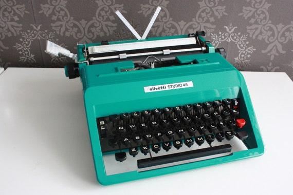 Vintage Italian Typewriter - turquoise/teal Olivetti Studio 45