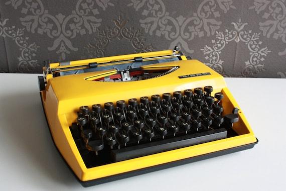 Vibrant Yellow Vintage Typewriter - Triumph Tippa