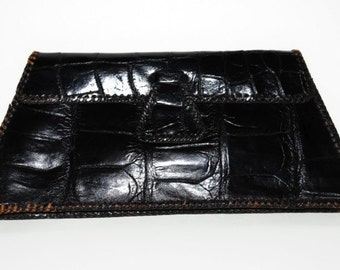Vintage 1970's Alligator Clutch, Black Clutch with Coin Purse